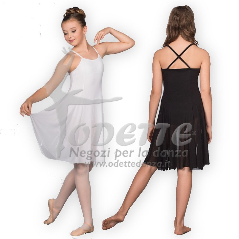Leotard with Panelled Mesh Dress Overlay
